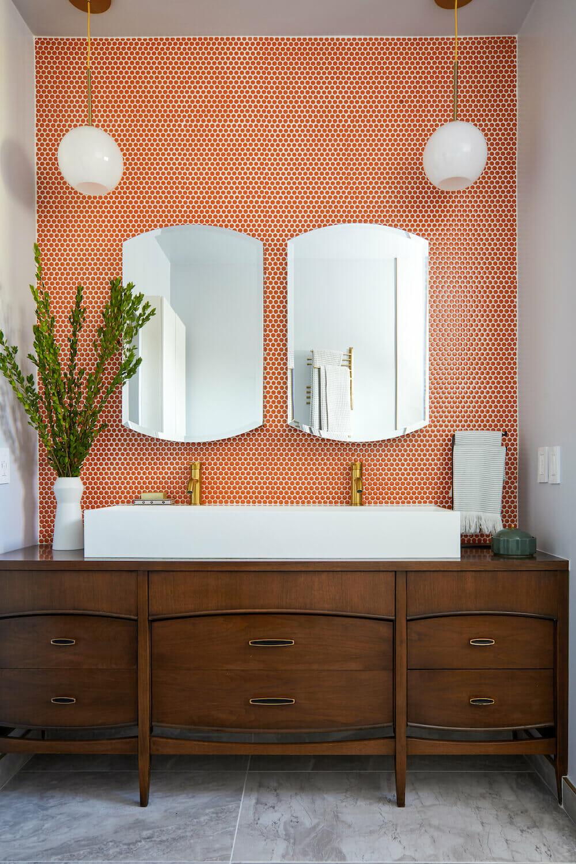 Image of a repurposed vanity table in a bathroom