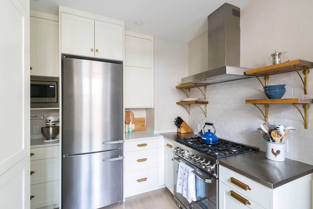 Image of stainless steel countertops in kitchen