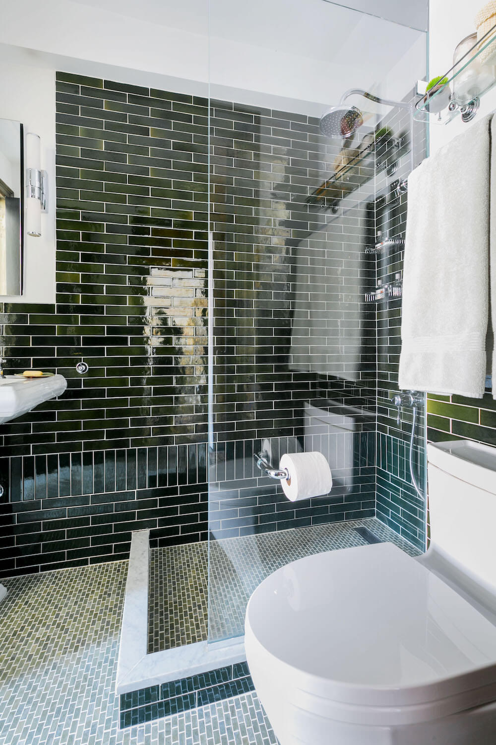 Image of open concept shower and toilet in renovated bathroom