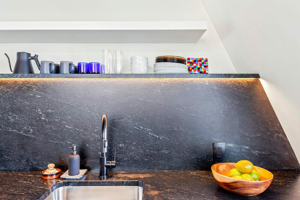 Image of soapstone countertop and backsplash