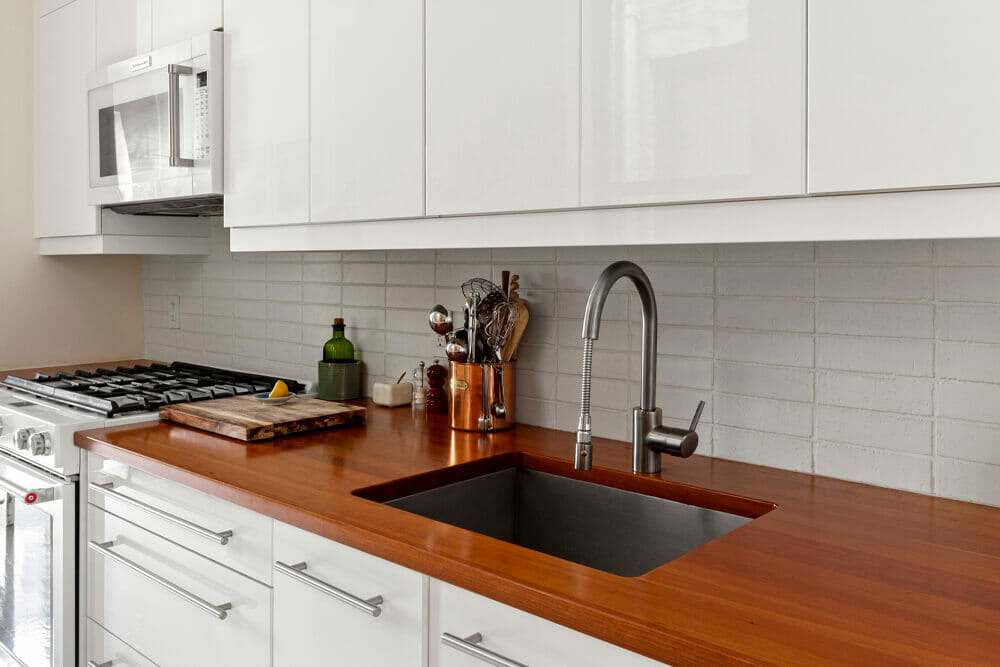 Image of kitchen with wooden butcher block countertop