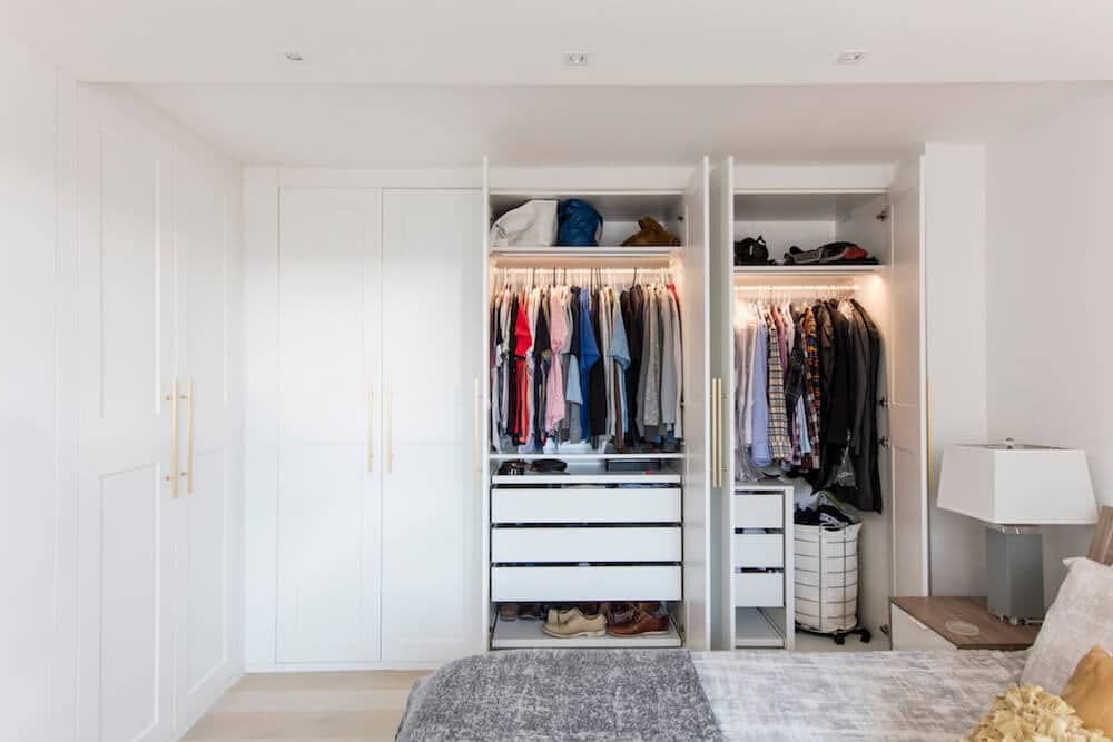 Image of a renovated closet with open doors