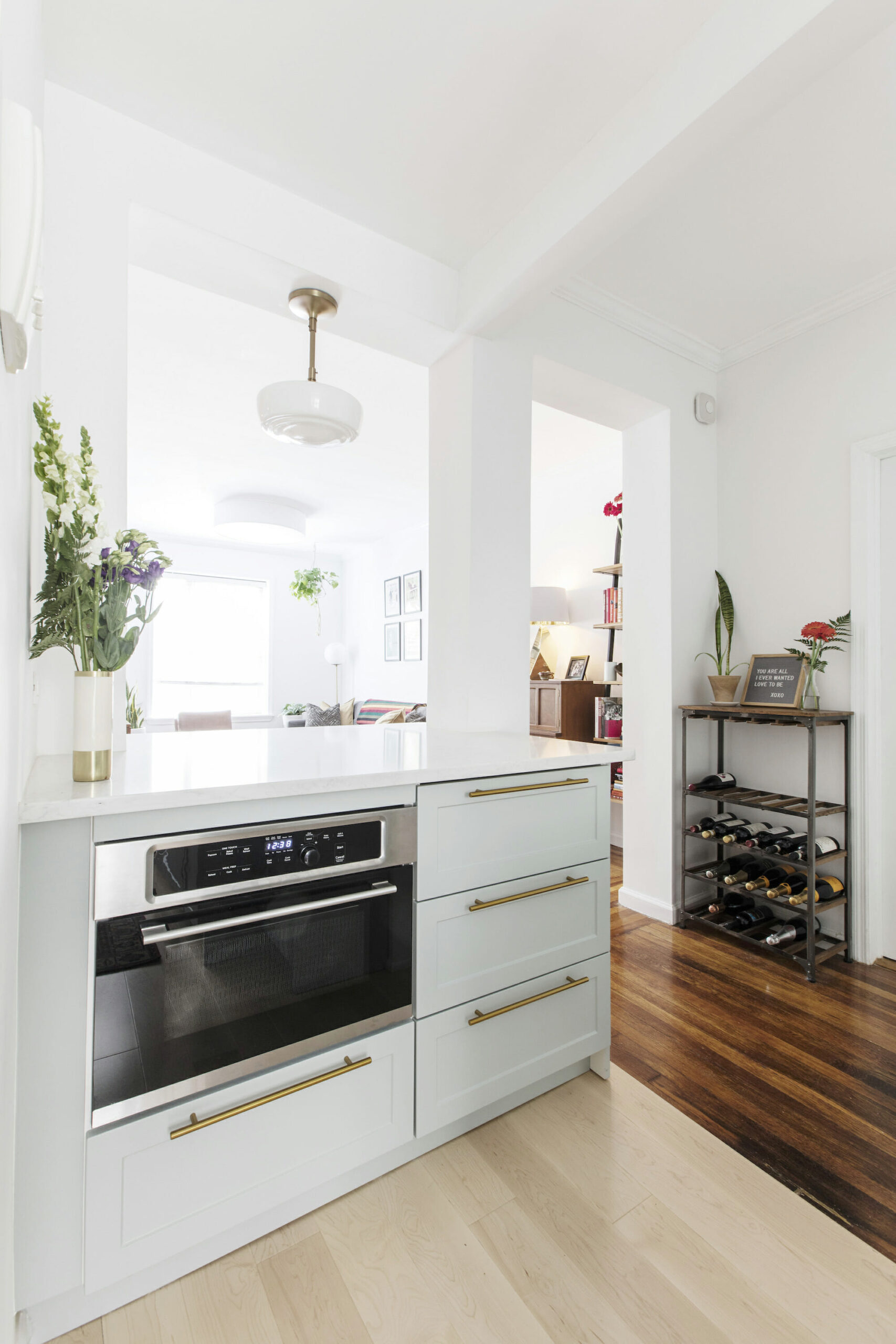 Image of a built-in oven in a renovated kitchen
