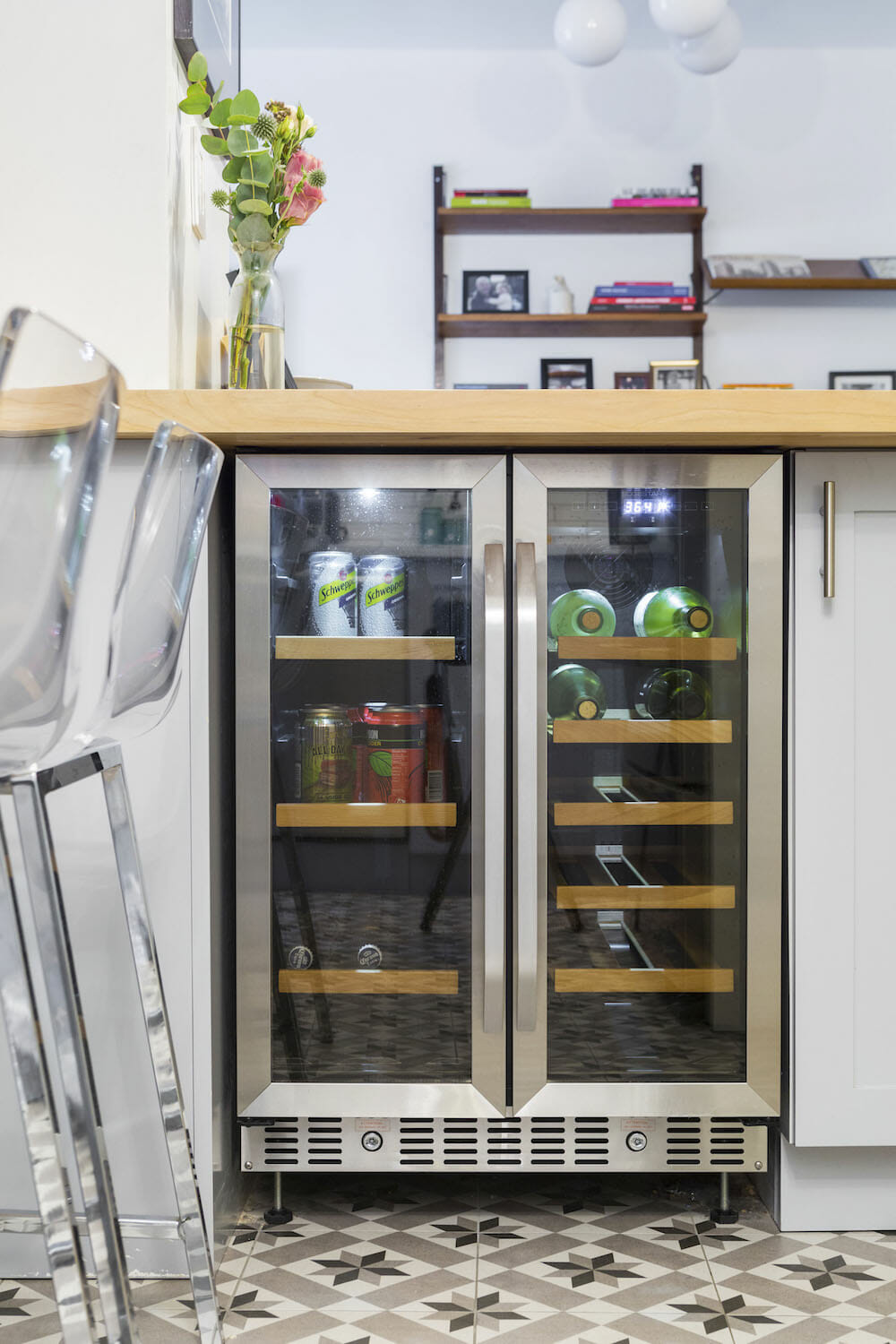 Image of a wine fridge with double-sided doors