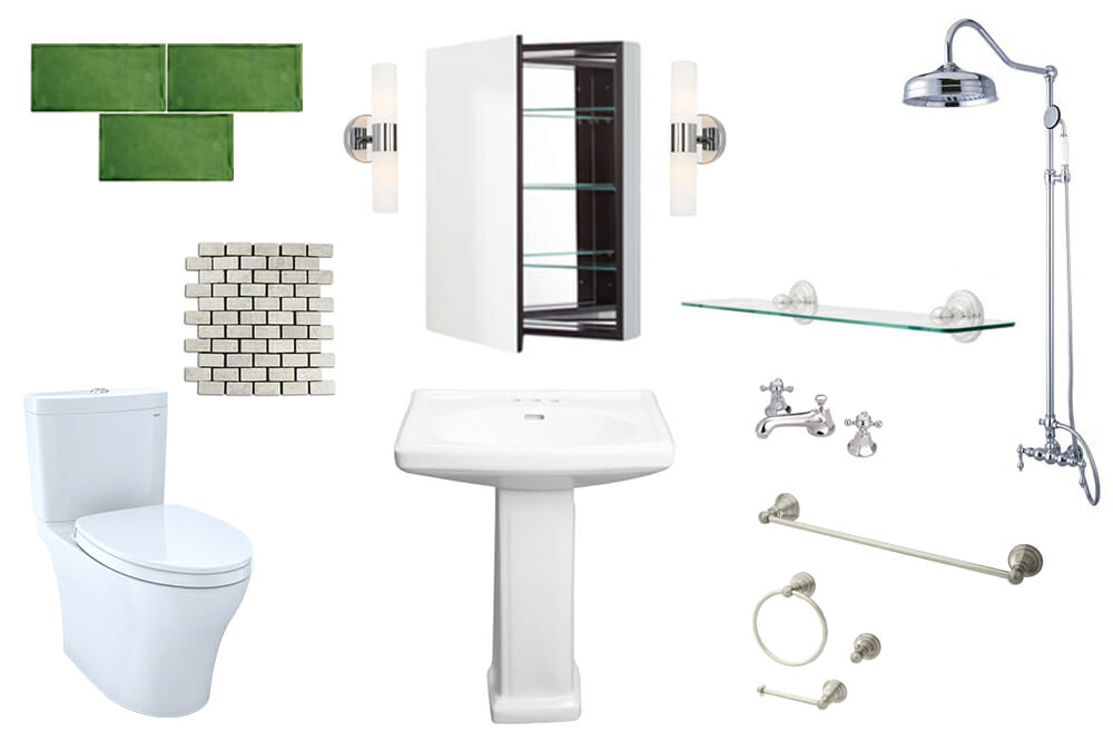 Image of various bathroom products used in small green bathroom