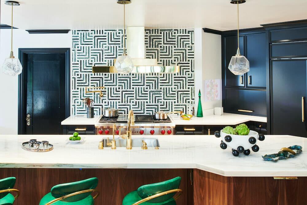 Boho kitchen with verde stone blend backsplash