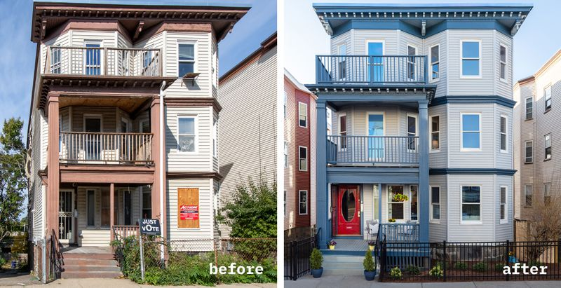Fall 2021, Dorchester reveal, before and after exterior