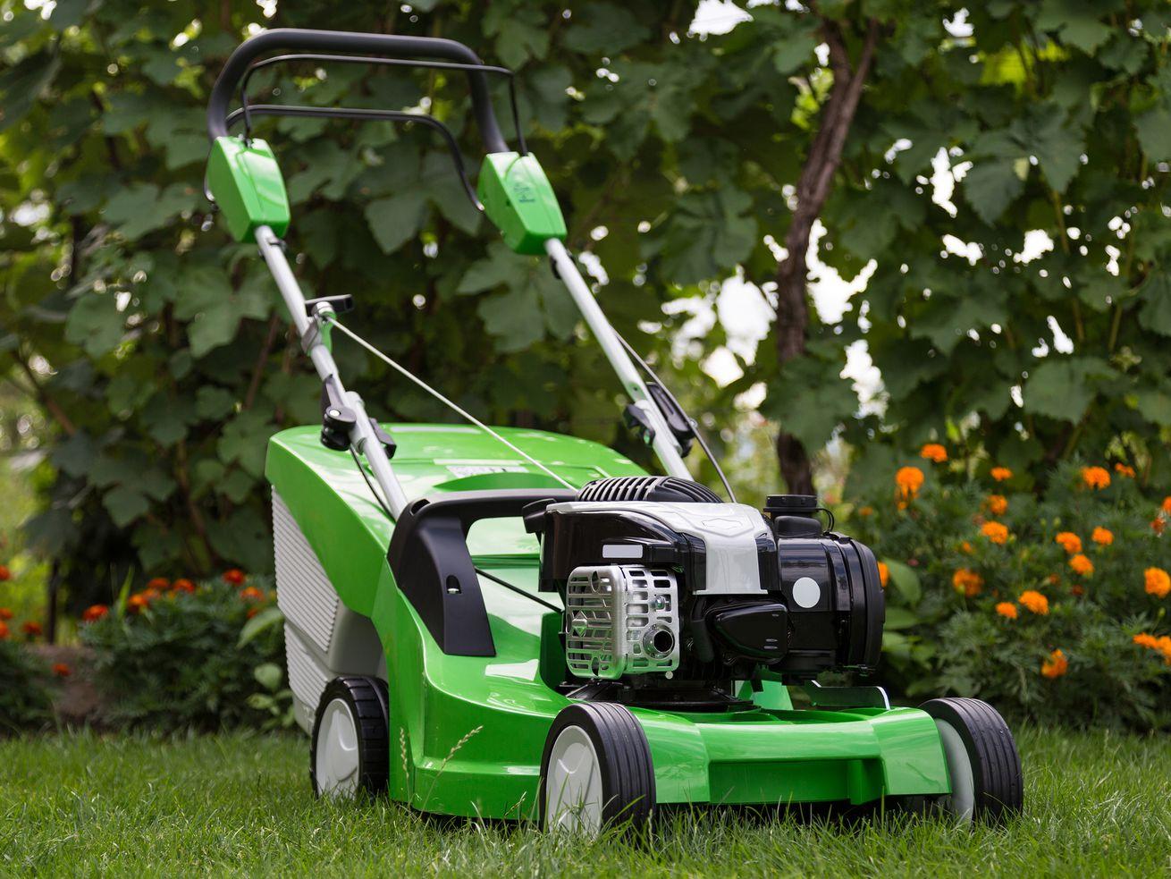 Green lawn mower.