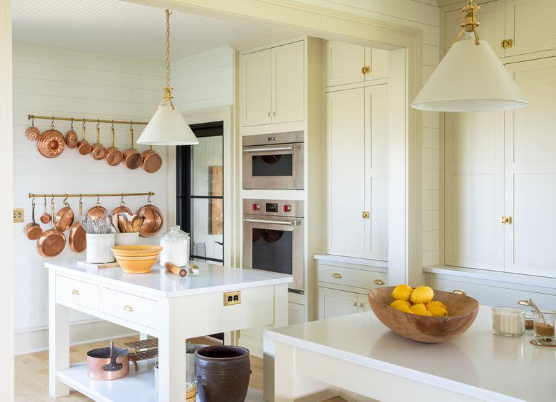 Fall 2021 Before & After Kitchen, kitchen pot hooks/island view