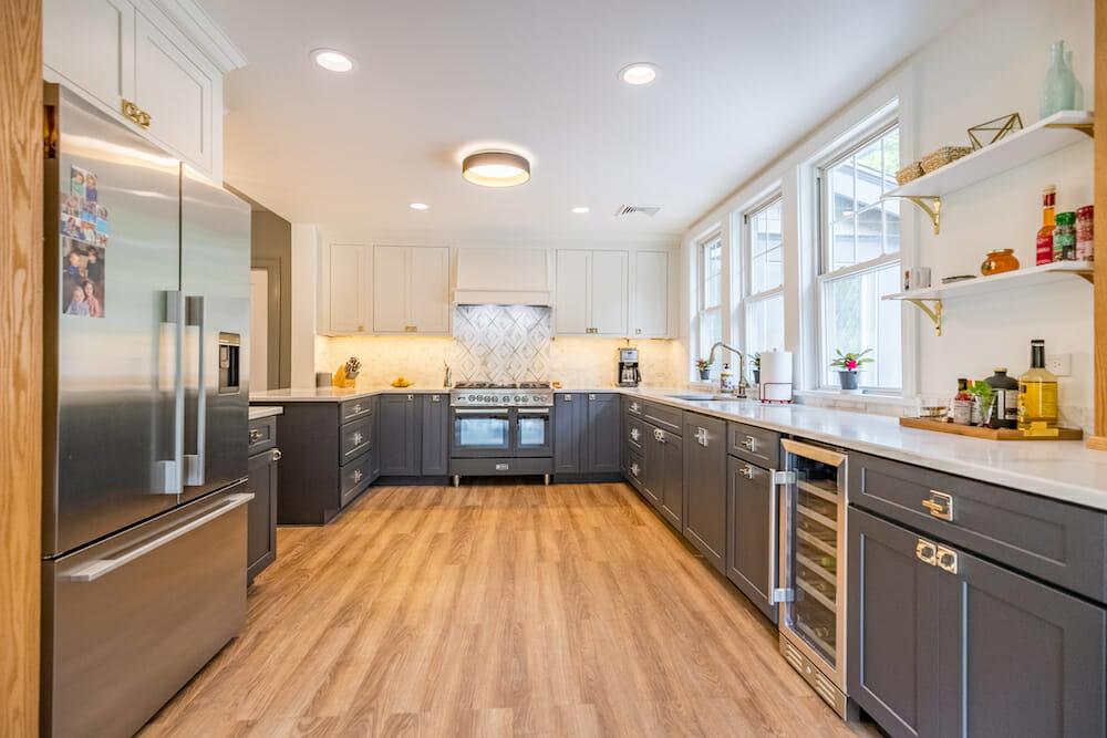 blue gray kitchen